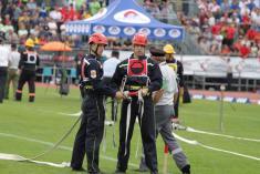 Zprava Milan Leško aJakub Novák  členové týmu SDH Vlčnov M1 vkonečném postavení prvního proudu přiolympijském pokusu požárního útoku CTIF – stříbrné ocenění.