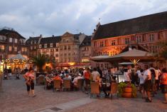 Noční Mulhouse vhistorické části města - předradnicí